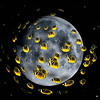 school of fish image composited on moon background