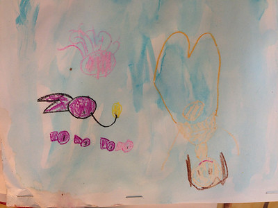 A mermaid and fish made with crayon and watercolor.