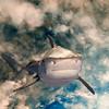 Tiger shark image composited on cloud background