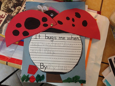 """Dylan says this was supposed to say """"It bugs me when my sisters do not play with me."""
