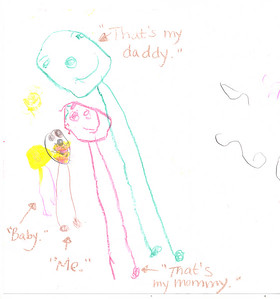Sidney drew this picture the weekend that i got so sick.  It is part of a get-well card that she made with the babysitter (Miss Nicki) who came over to help Wade. [Wade and I had made prior arrangements to have Miss Nicki over to babysit but then I got so ill that I counldn't move from the bed - migraine headache]