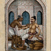 "A ghulum, or bath attendant, attending to a customer, c. 1825<br /> Gouache<br /> A ghulum, or bath attendant of the Shudra caste, attending to a customer in a Mughal inspired bath-house. The ghulam is providing snehana and svedana, two Ayurvedic procedures, to his customer. Snehana includes external oil massage that nourishes the nervous system, while svedana is the applying of hot steam to flush out the toxins from the body.<br /> <br /> Credit: Wellcome Library, London.  <a href=""http://images.wellcome.ac.uk"">http://images.wellcome.ac.uk</a><br /> Copyrighted work available under Creative Commons by-nc 2.0 UK, see:  <a href=""http://images.wellcome.ac.uk/indexplus/page/Prices.html"">http://images.wellcome.ac.uk/indexplus/page/Prices.html</a>"