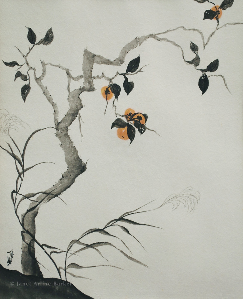 Persimmons and Grasses in the Fall Wind