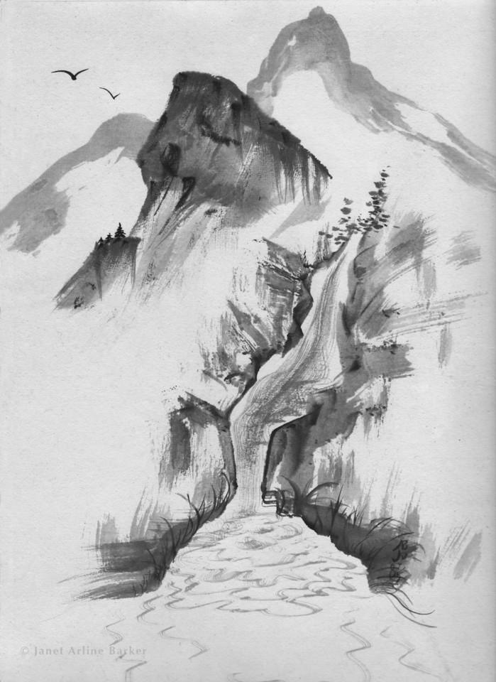 mtn waterfall-print
