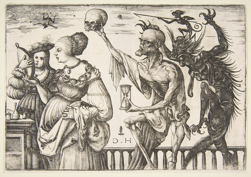 Woman and Attendant Surprised Death by Daniel Hopfer ca. 1515 <br />  German