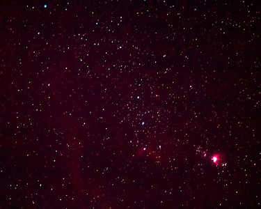 Orion belt and dagger, including Orion, Horsehead, and Flame nebulas, full spectrum