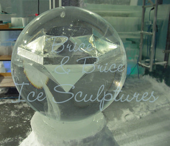 Hollow diamond in ice sphere for chapel