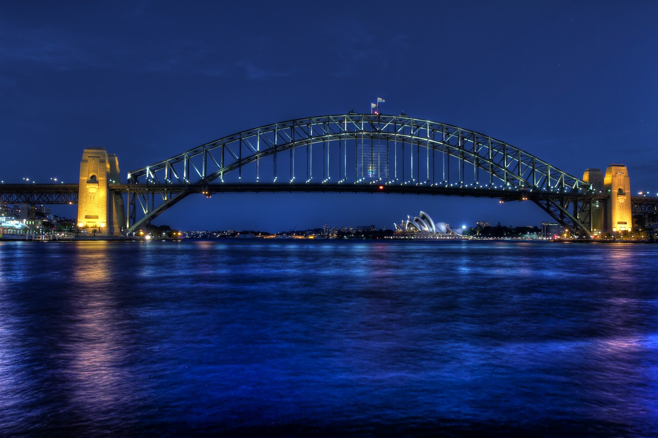 Harbour Bridge and Opera House (all blue)