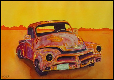 Desert Chevy Pick Up, 10x14, watercolor, march 26, 2018.
