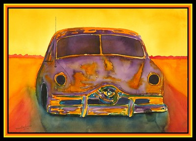 1951 Ford, gift to Roy Byers,  9x12, watercolor, march 19, 2018.
