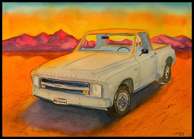 1968 Chevy Stepside, 10x14, watercolor, aug 14, 2017. sold to Elizabeth K.