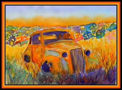 1937 Chevy Coupe, 10x14, watercolor, pastel & ink, april 23, 2018.