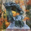Chopin Statue in Lazienki Park, Warsaw as painted by Cezanne