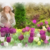 Barbara and tulips watercolor