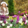 Barbara and tulips as painted by Benson