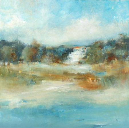 """Contemporary Land III by Ridgers, 48""""x48"""" acrylic painting on loose canvas"""