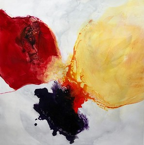 """Flower Abstracted-Haxton, 40""""x40"""" acrylic painting on canvas"""