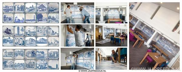 Mooi nieuw project! Voor Nieuw Rijsenburgh (voorheen De Samaritaan-Sommelsdijk) werkte ik aan een aantal nieuwe muuropdrachten. Het eerste project is 3 wanddelen, geïnspireerd door de oude Delftsblauwe tegel en de meest kenmerkende dorpsgezichten van Goeree Overflakkee. Het zal onder het genot van een kopje koffie weer veel stof tot praten geven. En dat is ook de bedoeling. Mooi uitgevoerd en bevestigd door DIck Vroegindeweij van D-Sign.