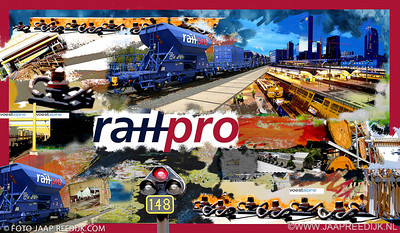 Kado t.g.v. opening nieuw pand. RailPro doek 100x160 mixed media aangeboden door het personeel.