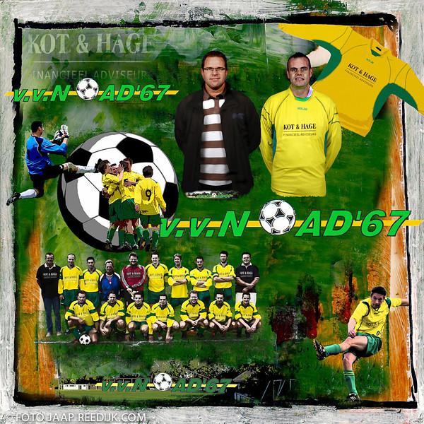 Afscheidskado sponsoring Kot & Hage voetbalver. NOAD '67 Doek 40x40 cm