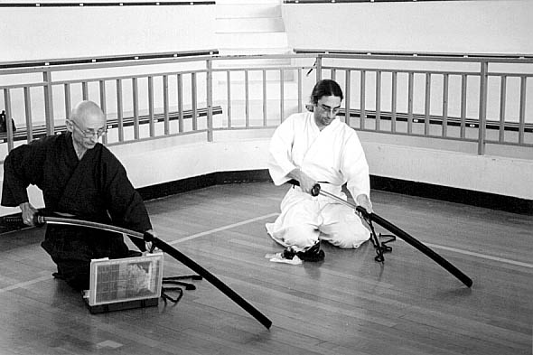 Marc san and his pupil  iaido  contest june 2004<br /> Canon 30d  Ilford c41