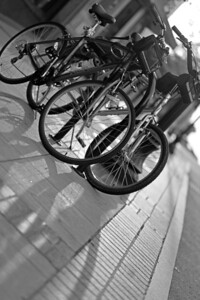 Bikes and Shadows BW