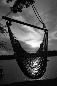 lake hammock sunset BW