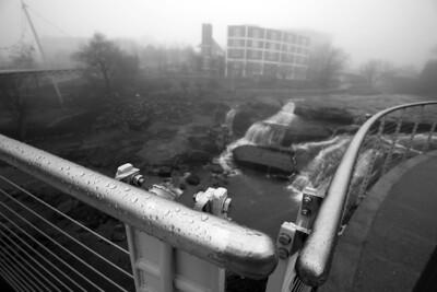 raindrops on railings BW