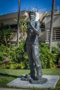 "Michelangelo's ""David"" in Rambo-like clothing. The statues were commissioned by the Gary Nader gallery of Miami."