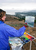 Victoria Miniaga paints the view from the top of Tiburon Ridge on Sunday, October 17, 2010. The group paints landscapes that are disappearing due to development of open lands and sell their paintings to raise money and awareness of our beautiful open spaces.(Jocelyn Knight Photo)