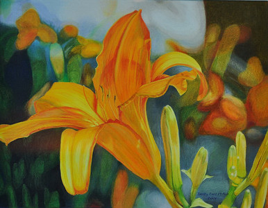 Daylilies - color pencil - barnwood frame