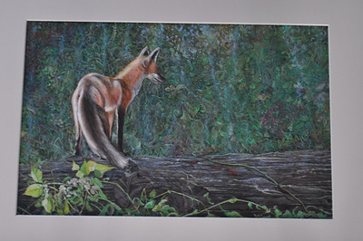Fox on a Log - Gouache and Color Pencil - Matted, Barnwood Frame with Glass