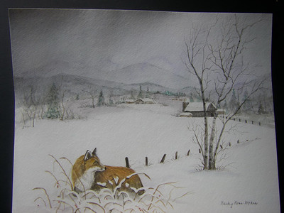 Red Fox in Snow - Watercolor - Matted and Barnwood Frame with Glass