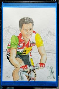 A9-Bernard Hinault, 1986 Tour de France, 11x15, watercolor & graphite pencil, aug 25, 2015 DSCN0786