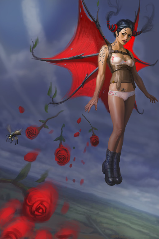 """""""Flight and Roses""""  I saw a friend of mine standing on her toes, and it seemed to me like she was floating. I like the idea of painting someone flying or floating, since I don't have to follow the laws of gravity as much. Originally, the painting only had the floating woman above a landscape, but, composition-wise it was not working. The roses were added after chatting with a friend about love, relationships and freedom. Not only was it a perfect solution to a bland composition, but it also added depth and meaning to the image."""