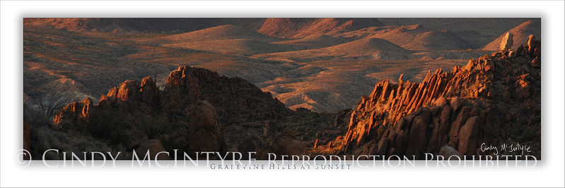 Grapevine Hills at Sunset 4x12