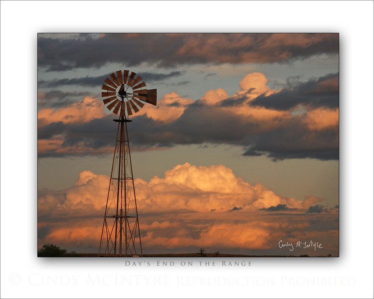 Day's End on the Range Windmill 8x10 H