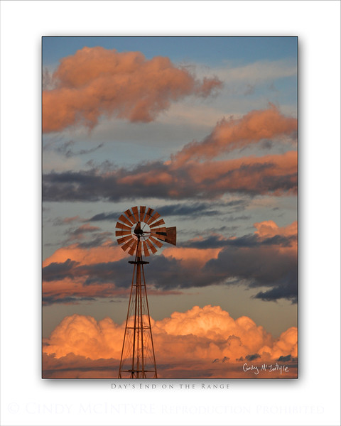 Day's End on Range Windmill 8x10 V