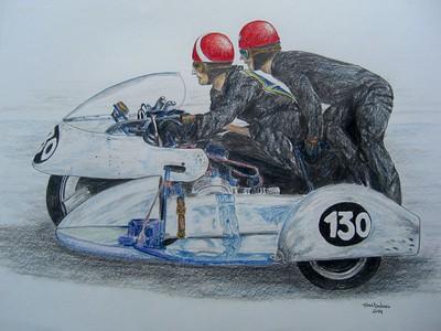 Florian Camathais & Per Nacht, Pau GP, 1962. 14x17, graphite and color pencil, dec 14, 2014. $150US
