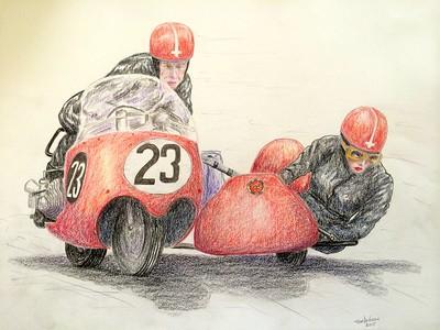 Claude and Marie Lambert, Isle of Man, june 12, 1961. 14x17, color pencil, feb 3, 2015. $200US