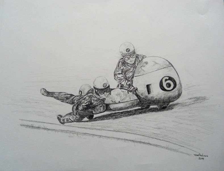 Hanging it all out!- Auerbacher & Hahn, Belgian GP. 14x17, graphite pencil,  dec 11, 2014. $100US