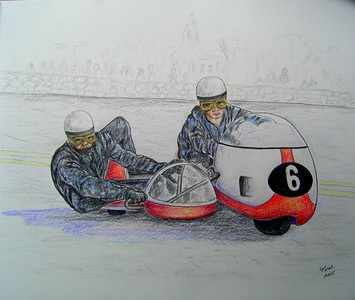 Klaus Enders and Ralf Engelhardt ,BMW 500, winning the Isle of Man 1969. 14x17, graphite & color pencil, may 12, 2015. $200US