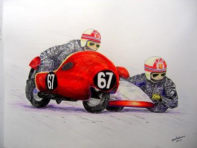 Denis Blower & Stuart Brown, Isle of Man, june 3, 1970. 14x17, graphite & color pencil, completed  april 22, 2015. $200US
