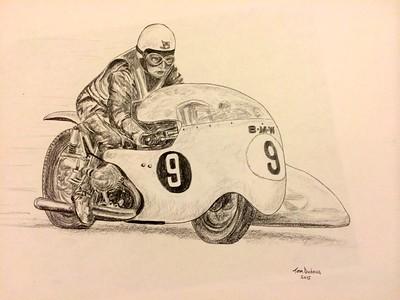 Colin Seeley & Walter Rawlings, at Ballaugh Bridge, Isle of Man, practice lap, about 1966 11x14, graphite pencil, jan 9, 2015. $100US