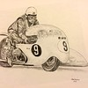 Colin Seeley & Walter Rawlings, at Ballaugh Bridge, Isle of Man, practice lap, about 1966 11x14, graphite pencil, jan 9, 2015