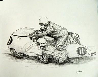 Ruben Bjarnemark & Marianne Kjelmodin-Hansen, BMW500, 1970 Finnish GP/Imatra 14x17, graphite pencil, sep .19, 2015.$100US