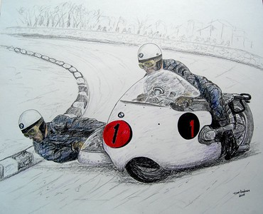 Helmut Fath and Alfred Wohlgemuth 1960. BMW R50-2. 14x17, graphite & color pencil, april 24, 2015. $175US
