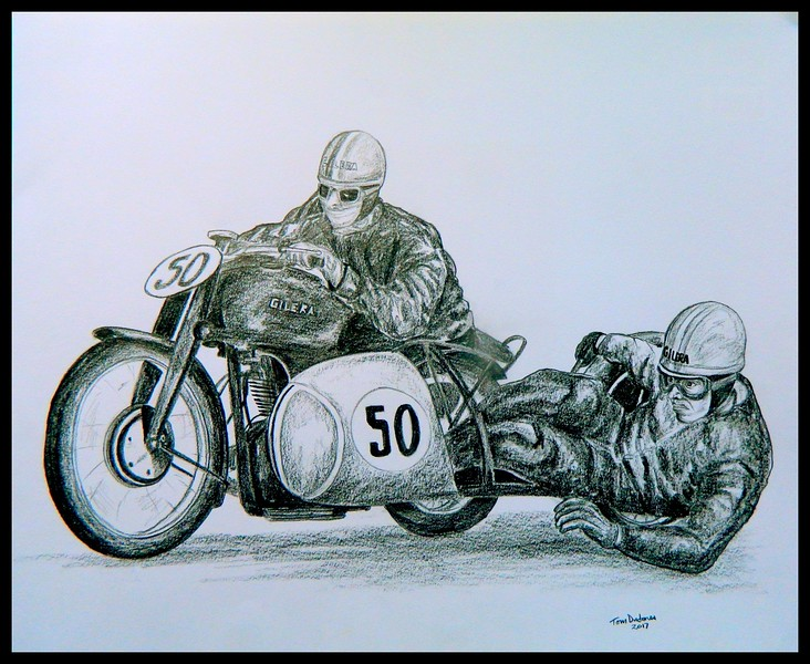 Ercole Frigerio & Ezio Ricotti. Gilera 1949, 14x17, graphite pencil, may 15, 2017. $125US