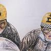 Detail - Dane Rowe and Bill Copson, Isle of Man  1969 TT  14x17, color pencil, jan 16, 2015