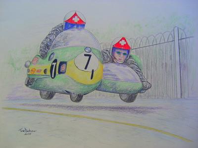 1-Jean-Claude & Albert Castella, IoM, 1971, 14x17, color pencil, feb 27, 2015. $175US
